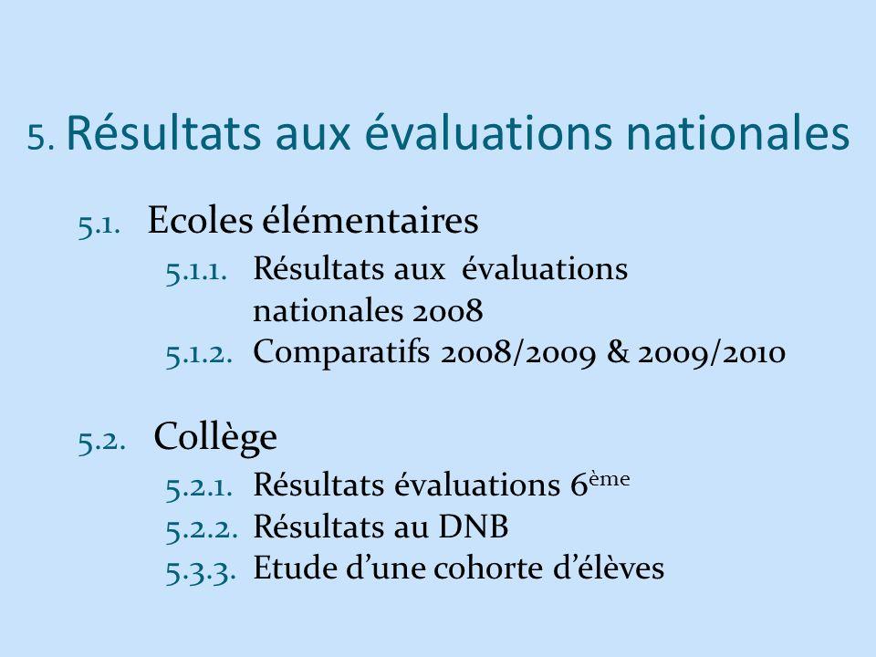 5. Résultats aux évaluations nationales