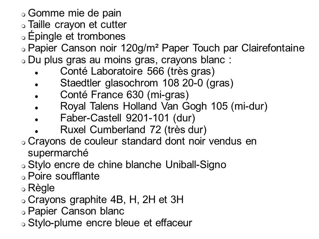 Gomme mie de pain Taille crayon et cutter. Épingle et trombones. Papier Canson noir 120g/m² Paper Touch par Clairefontaine.