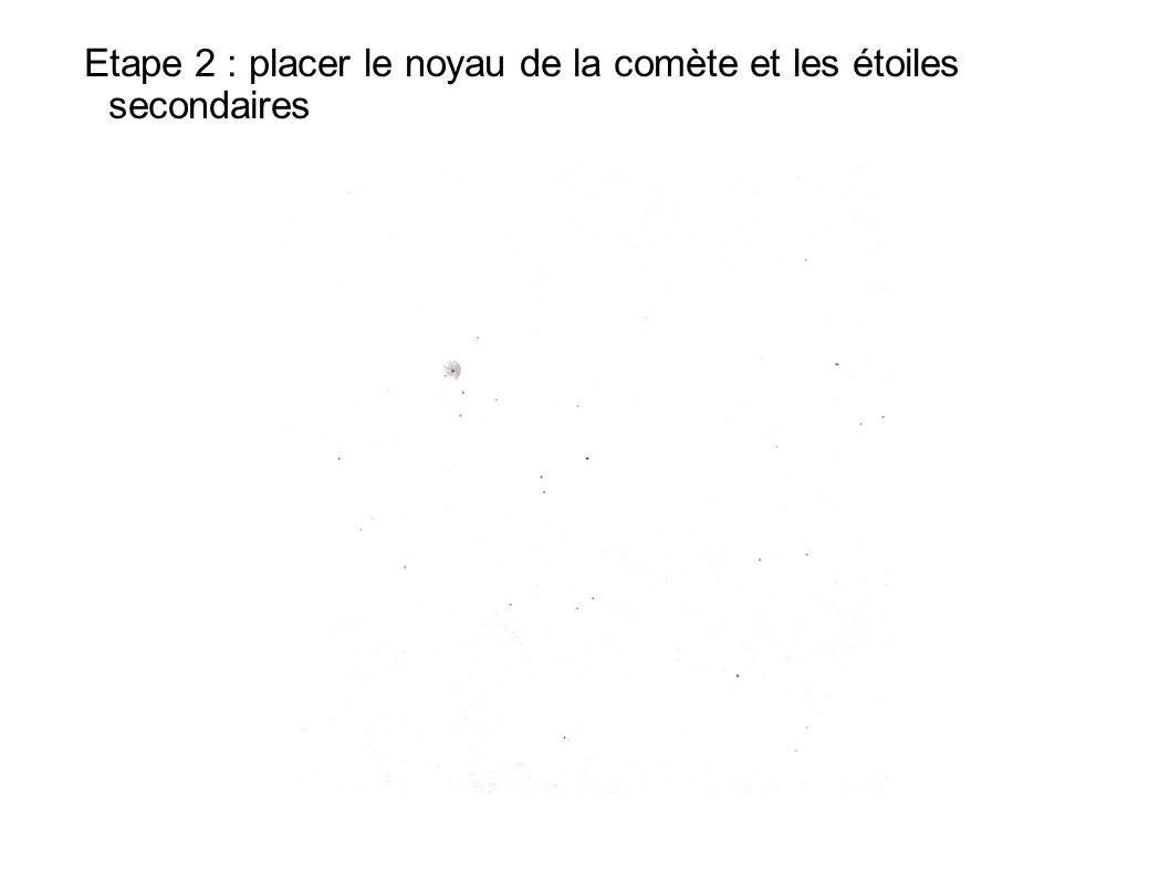 Etape 2 : placer le noyau de la comète et les étoiles secondaires