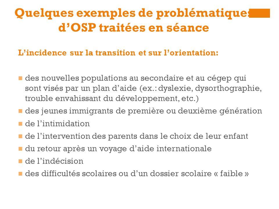 Quelques exemples de problématiques d'OSP traitées en séance