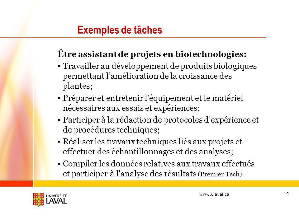 Exemples de tâches Être assistant de projets en biotechnologies: