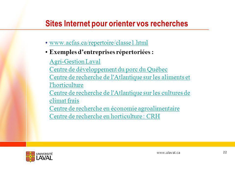Sites Internet pour orienter vos recherches