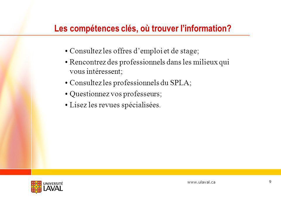 Les compétences clés, où trouver l'information
