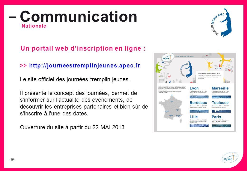 Communication Un portail web d'inscription en ligne :