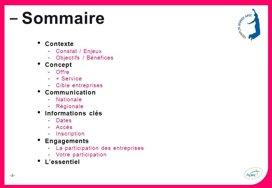 Sommaire Contexte Concept Communication Informations clés Engagements