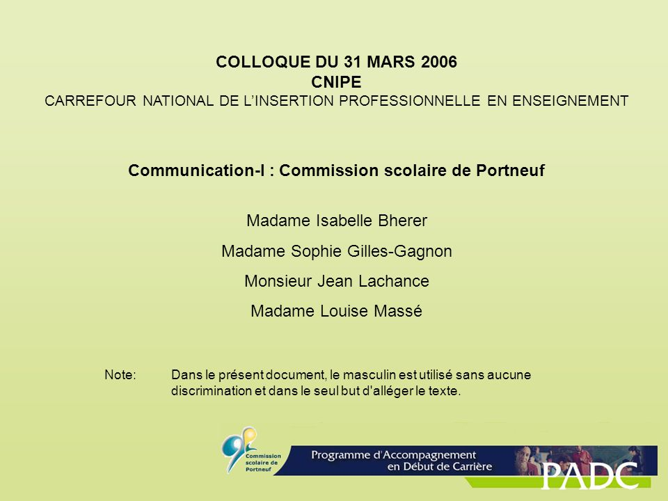 Communication-I : Commission scolaire de Portneuf