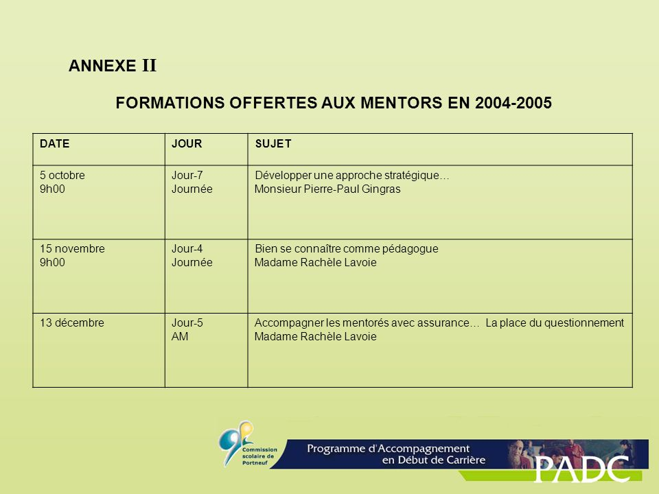 FORMATIONS OFFERTES AUX MENTORS EN 2004-2005