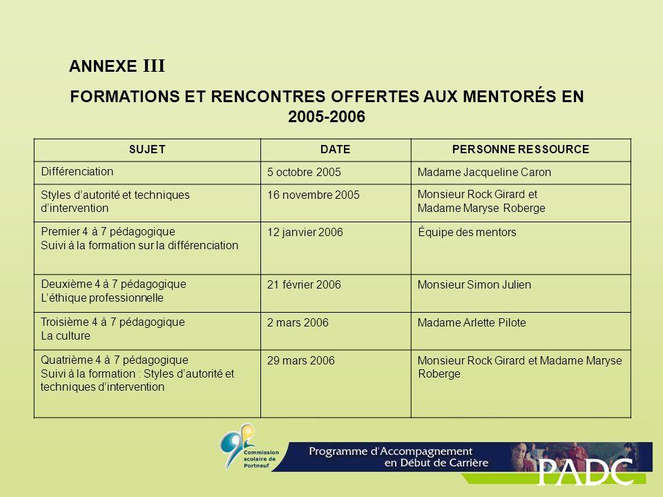 FORMATIONS ET RENCONTRES OFFERTES AUX MENTORÉS EN 2005-2006