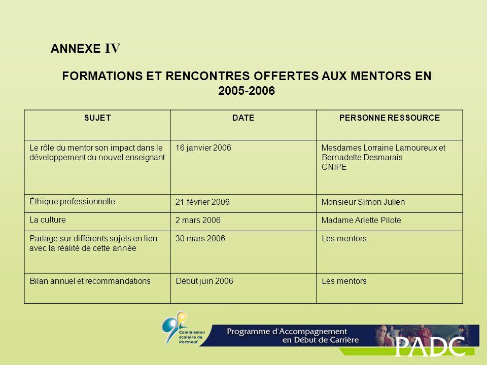 FORMATIONS ET RENCONTRES OFFERTES AUX MENTORS EN 2005-2006