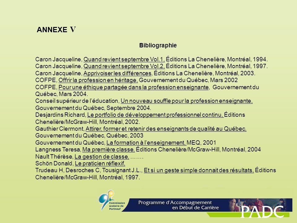ANNEXE V Bibliographie