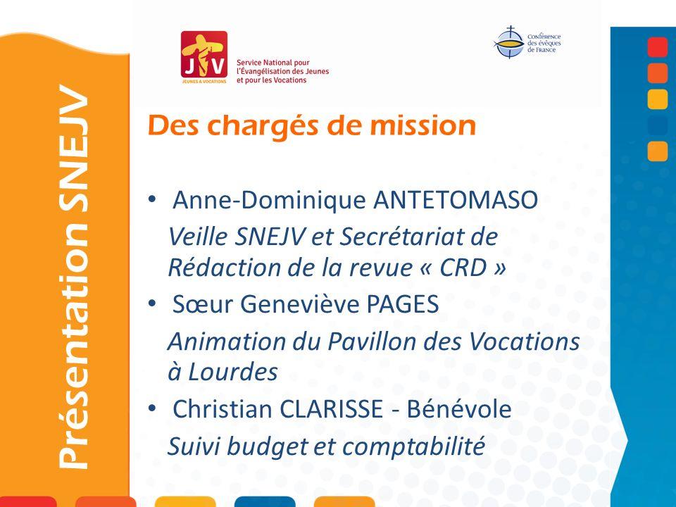 Présentation SNEJV Des chargés de mission Anne-Dominique ANTETOMASO