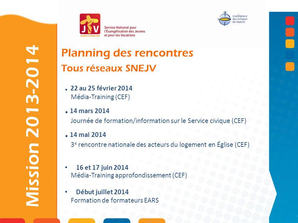 Mission 2013-2014 . 14 mars 2014 . 14 mai 2014 Planning des rencontres