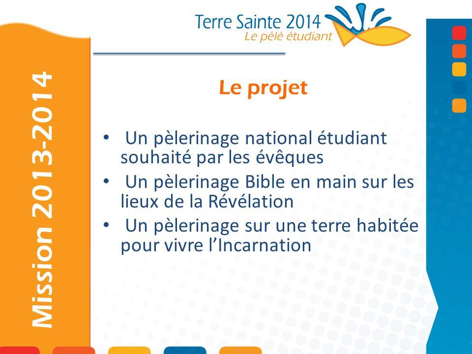 Le projetUn pèlerinage national étudiant souhaité par les évêques. Un pèlerinage Bible en main sur les lieux de la Révélation.