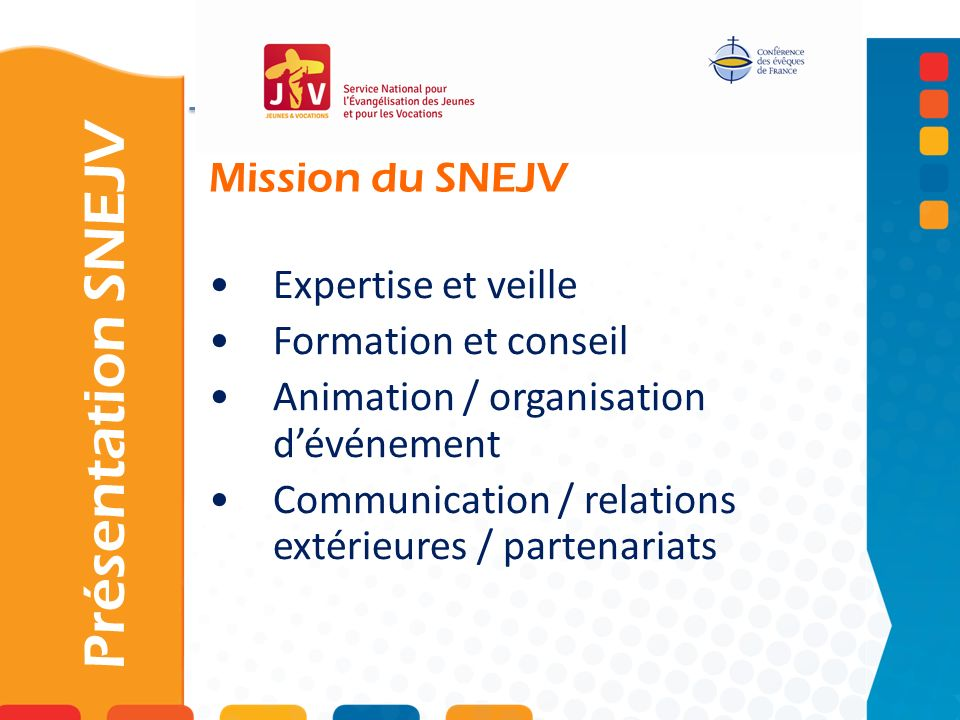Présentation SNEJV Mission du SNEJV Expertise et veille