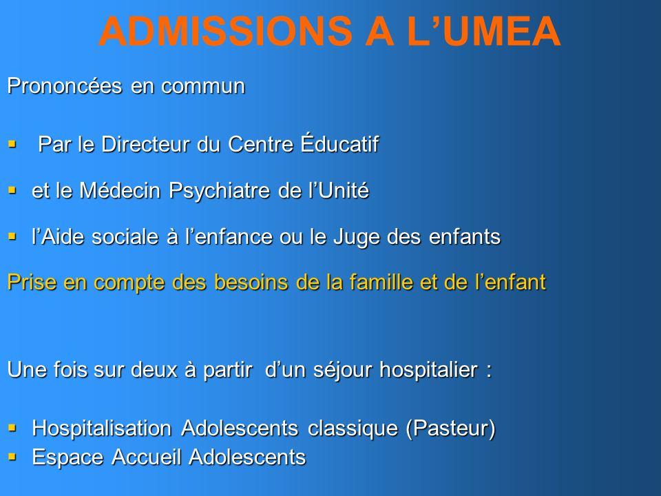 ADMISSIONS A L'UMEA Prononcées en commun