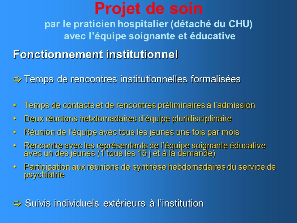 Projet de soin par le praticien hospitalier (détaché du CHU) avec l'équipe soignante et éducative