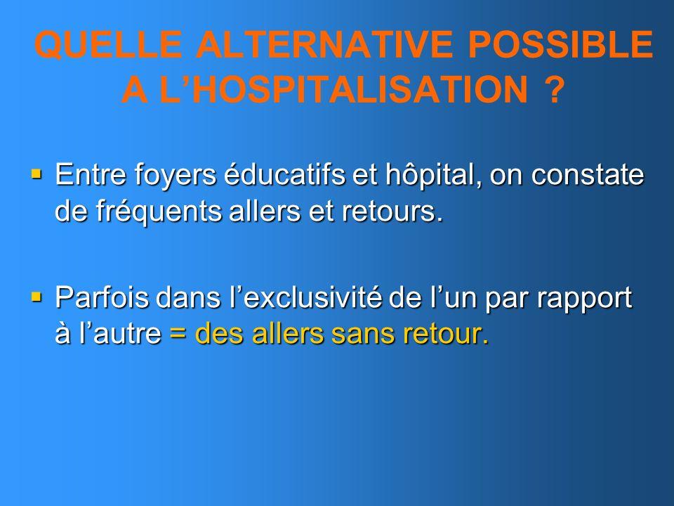 QUELLE ALTERNATIVE POSSIBLE A L'HOSPITALISATION