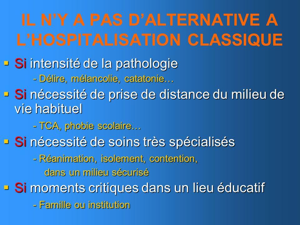 IL N'Y A PAS D'ALTERNATIVE A L'HOSPITALISATION CLASSIQUE