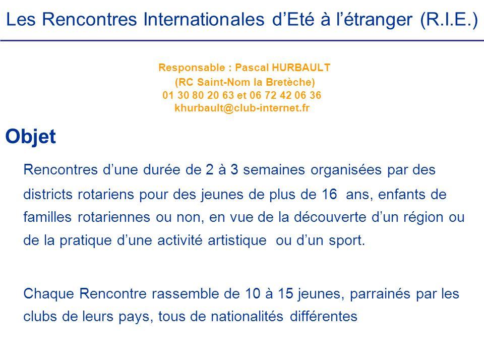 Les Rencontres Internationales d'Eté à l'étranger (R. I. E