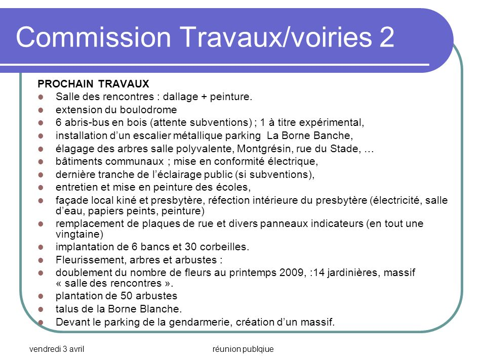 Commission Travaux/voiries 2