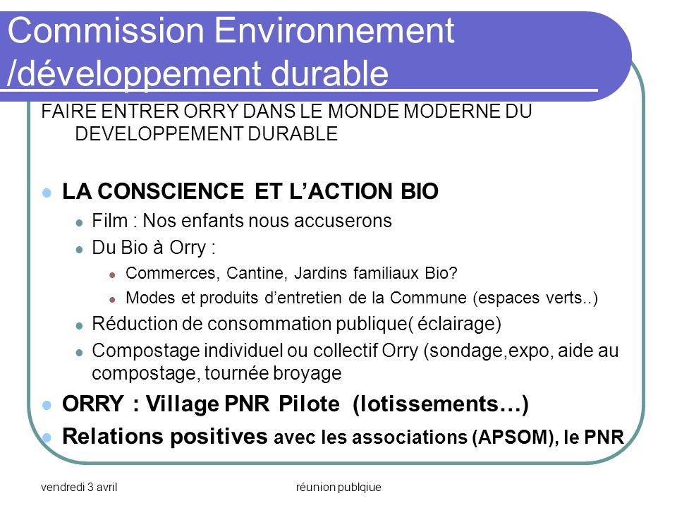 Commission Environnement /développement durable
