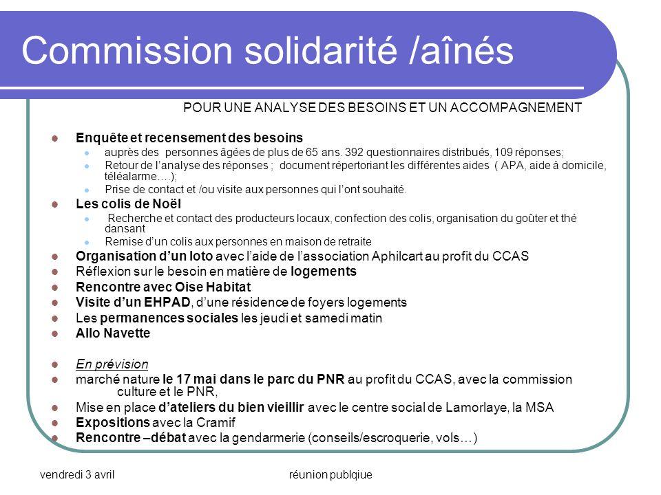 Commission solidarité /aînés