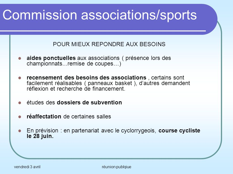 Commission associations/sports