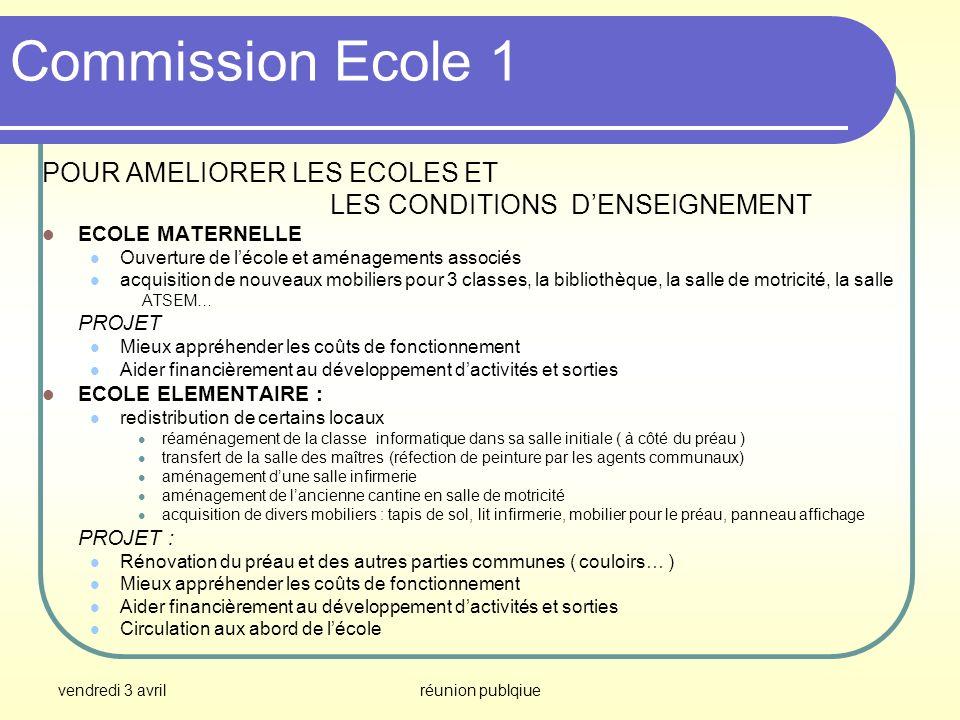 Commission Ecole 1 POUR AMELIORER LES ECOLES ET