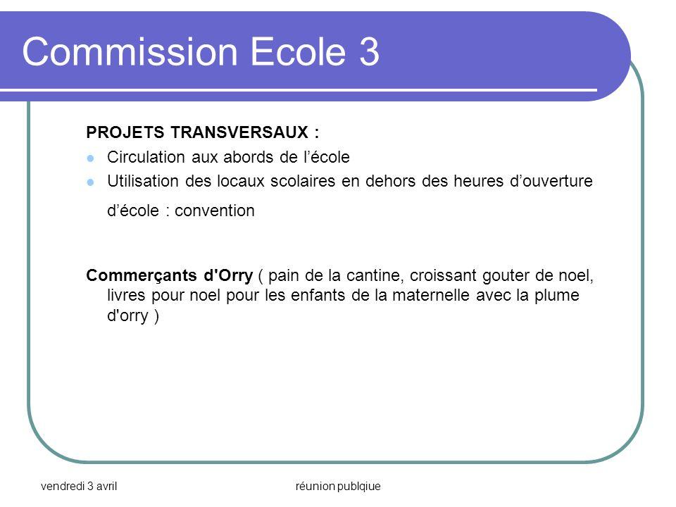 Commission Ecole 3 PROJETS TRANSVERSAUX :