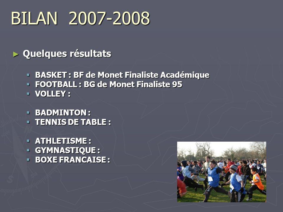 BILAN 2007-2008 Quelques résultats