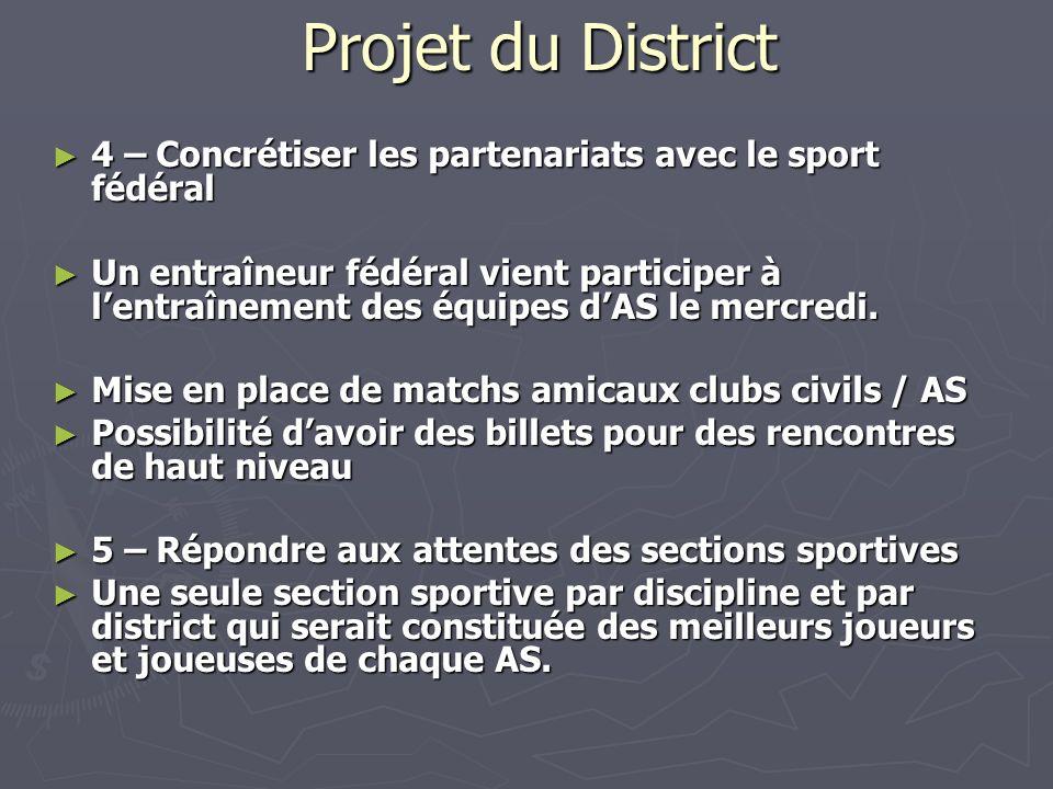 Projet du District 4 – Concrétiser les partenariats avec le sport fédéral.