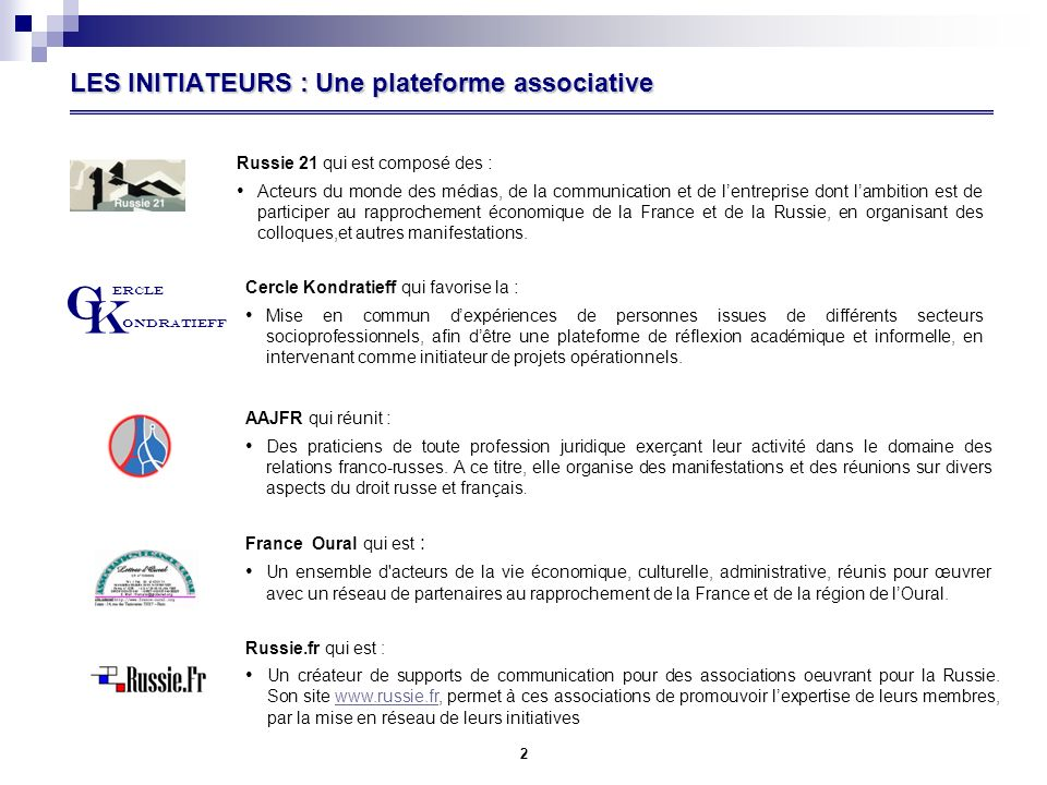 LES INITIATEURS : Une plateforme associative