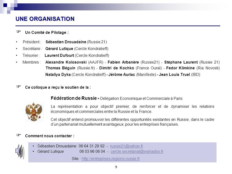 UNE ORGANISATION Un Comité de Pilotage : Président : Sébastien Drouadaine (Russie 21) Secrétaire : Gérard Lutique (Cercle Kondratieff)