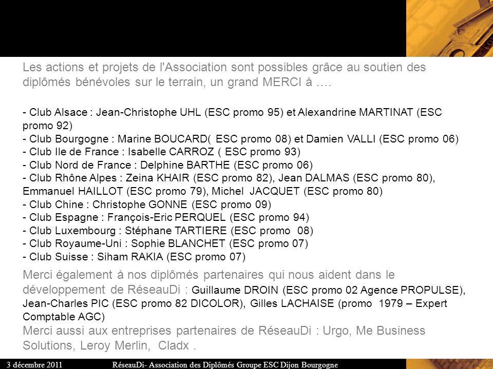 Les actions et projets de l Association sont possibles grâce au soutien des diplômés bénévoles sur le terrain, un grand MERCI à …. - Club Alsace : Jean-Christophe UHL (ESC promo 95) et Alexandrine MARTINAT (ESC promo 92) - Club Bourgogne : Marine BOUCARD( ESC promo 08) et Damien VALLI (ESC promo 06) - Club Ile de France : Isabelle CARROZ ( ESC promo 93) - Club Nord de France : Delphine BARTHE (ESC promo 06) - Club Rhône Alpes : Zeina KHAIR (ESC promo 82), Jean DALMAS (ESC promo 80), Emmanuel HAILLOT (ESC promo 79), Michel JACQUET (ESC promo 80) - Club Chine : Christophe GONNE (ESC promo 09) - Club Espagne : François-Eric PERQUEL (ESC promo 94) - Club Luxembourg : Stéphane TARTIERE (ESC promo 08) - Club Royaume-Uni : Sophie BLANCHET (ESC promo 07) - Club Suisse : Siham RAKIA (ESC promo 07)
