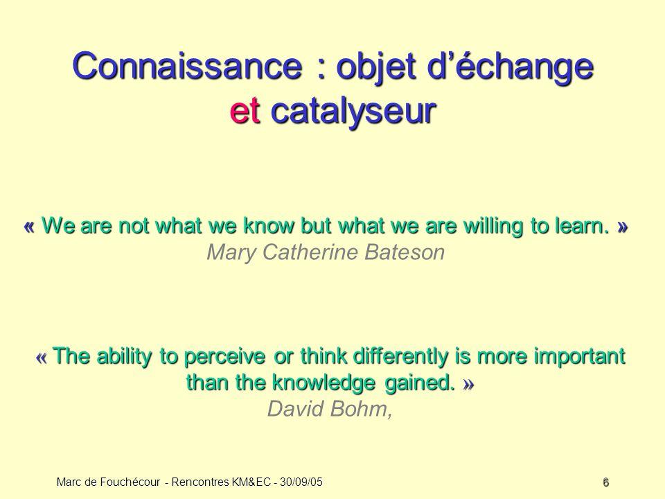 Connaissance : objet d'échange et catalyseur