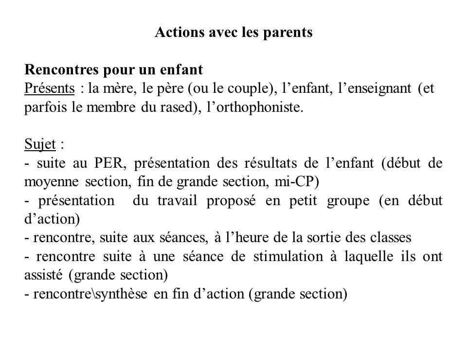 Actions avec les parents