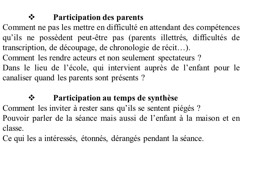 v Participation des parents