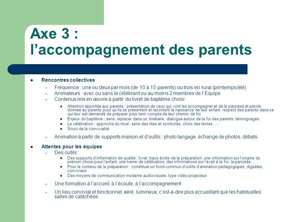 Axe 3 : l'accompagnement des parents