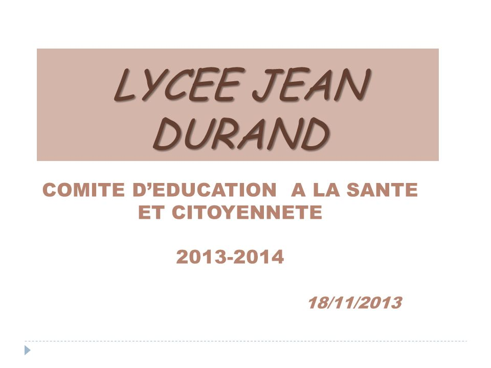 COMITE D'EDUCATION A LA SANTE ET CITOYENNETE 2013-2014 18/11/2013