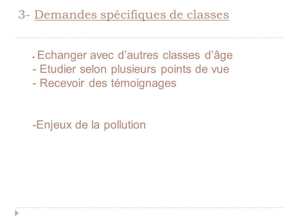 3- Demandes spécifiques de classes