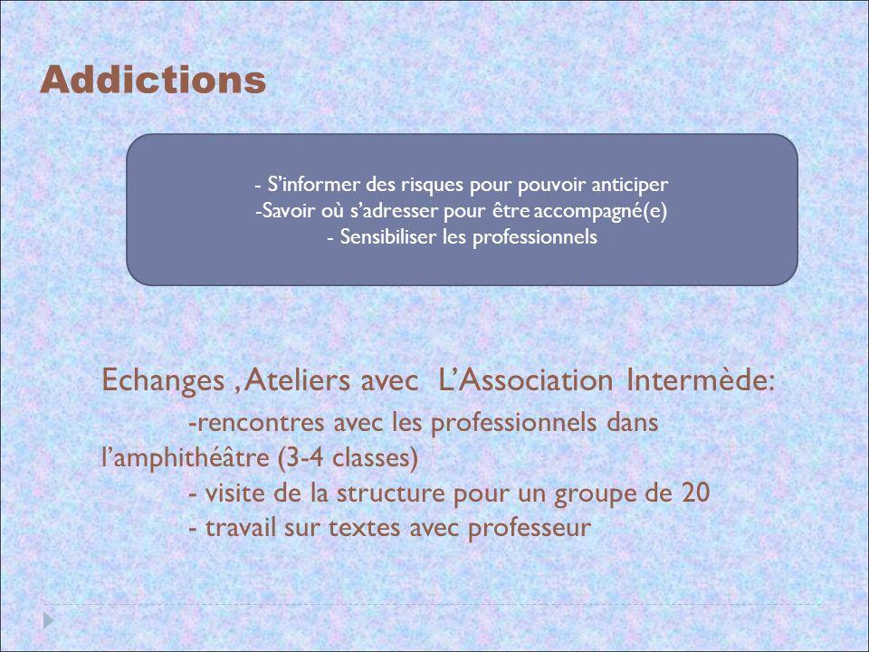 Addictions Echanges , Ateliers avec L'Association Intermède: