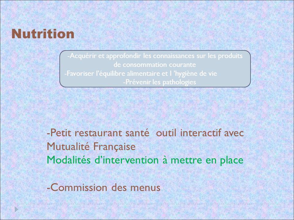 Nutrition Acquérir et approfondir les connaissances sur les produits de consommation courante.