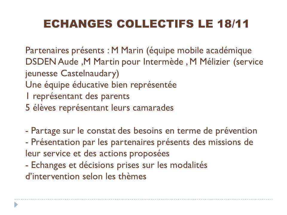 ECHANGES COLLECTIFS LE 18/11