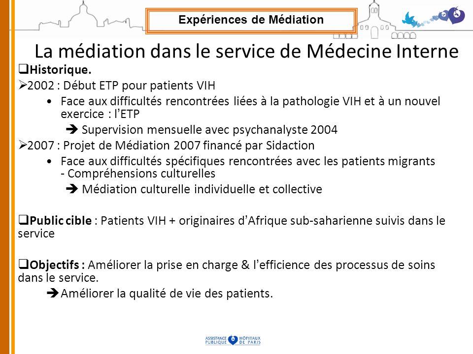 La médiation dans le service de Médecine Interne
