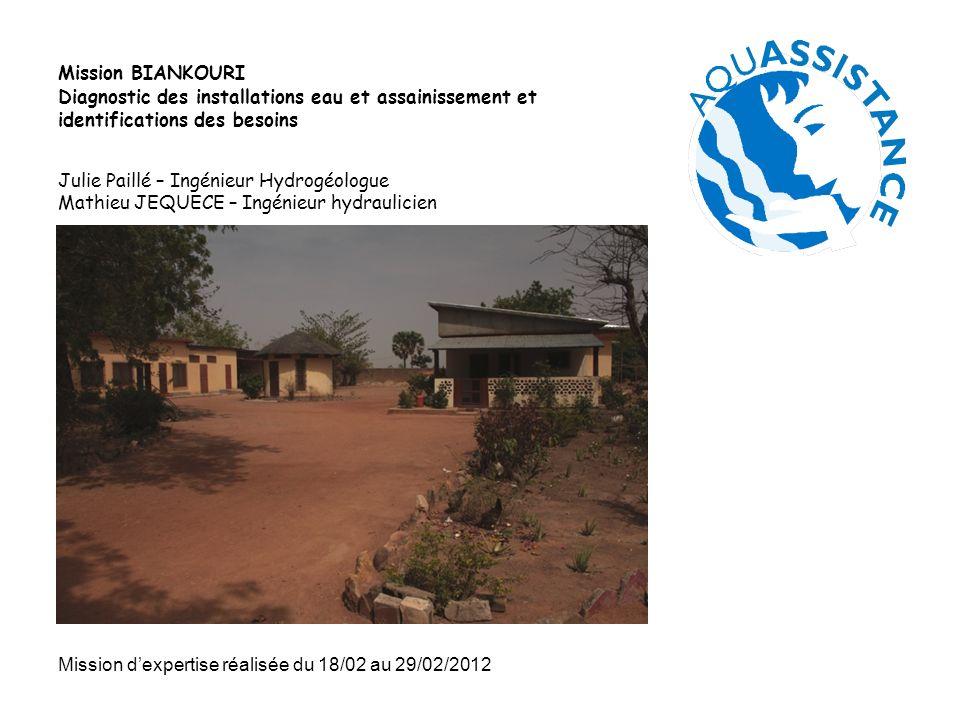 Mission BIANKOURI Diagnostic des installations eau et assainissement et identifications des besoins.