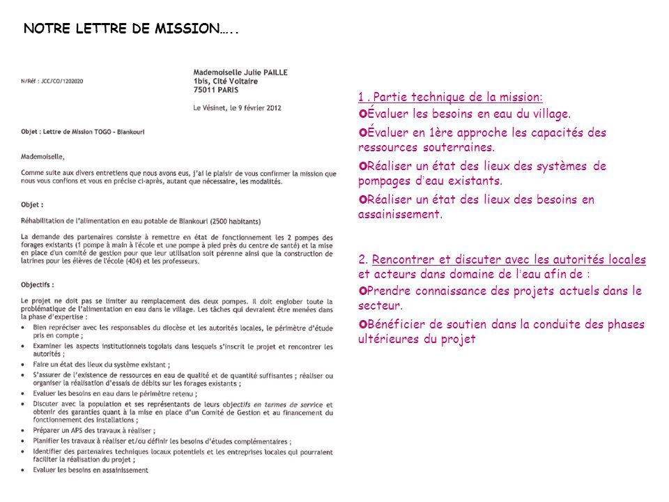 NOTRE LETTRE DE MISSION…..