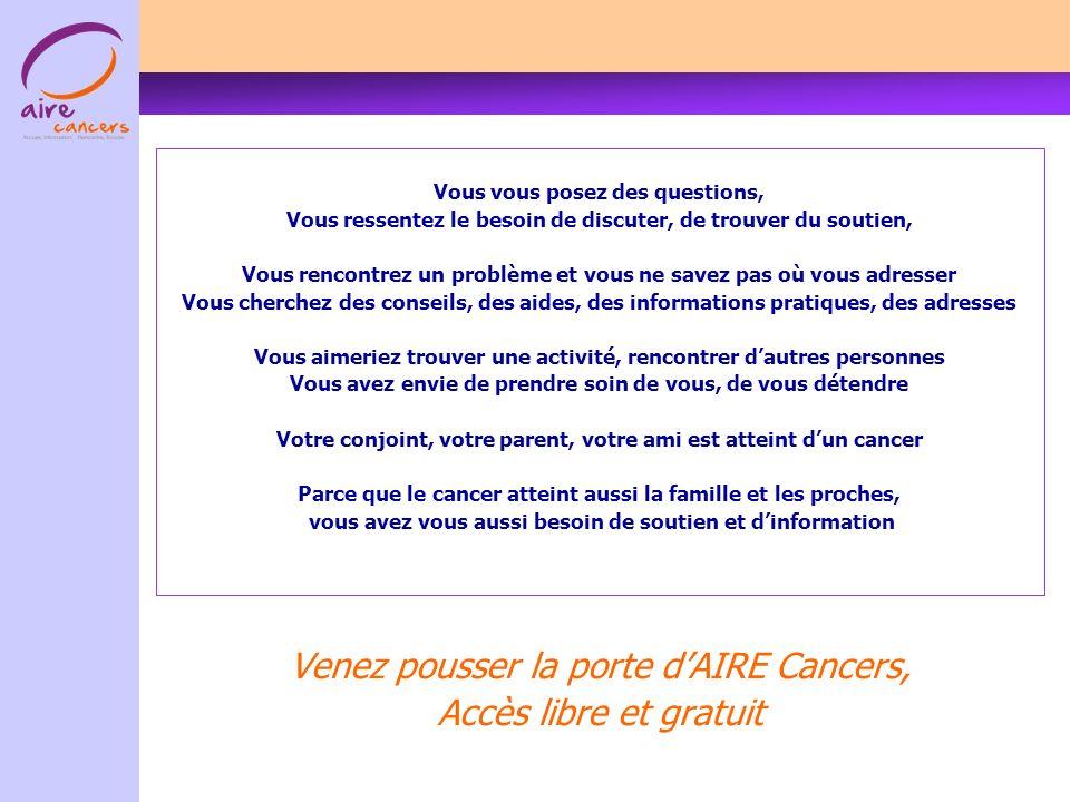 Venez pousser la porte d'AIRE Cancers, Accès libre et gratuit