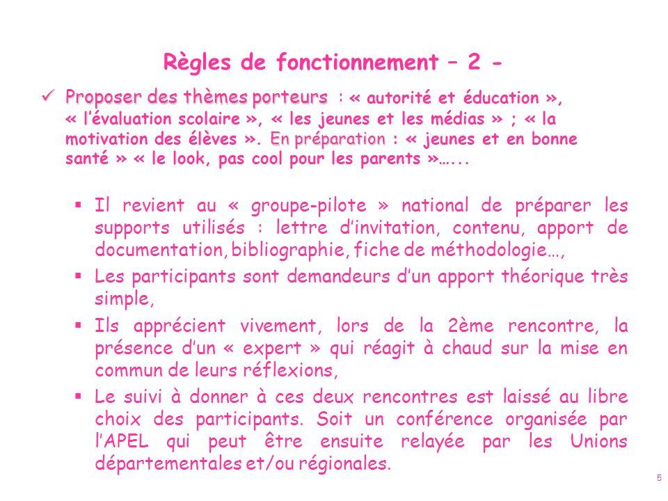 Règles de fonctionnement – 2 -
