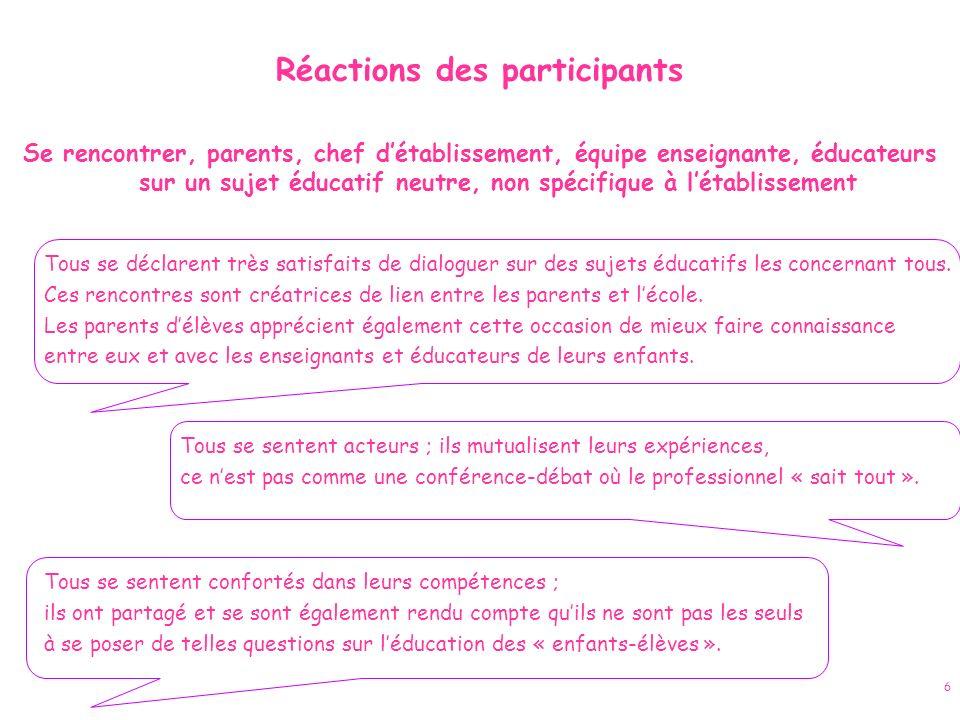 Réactions des participants