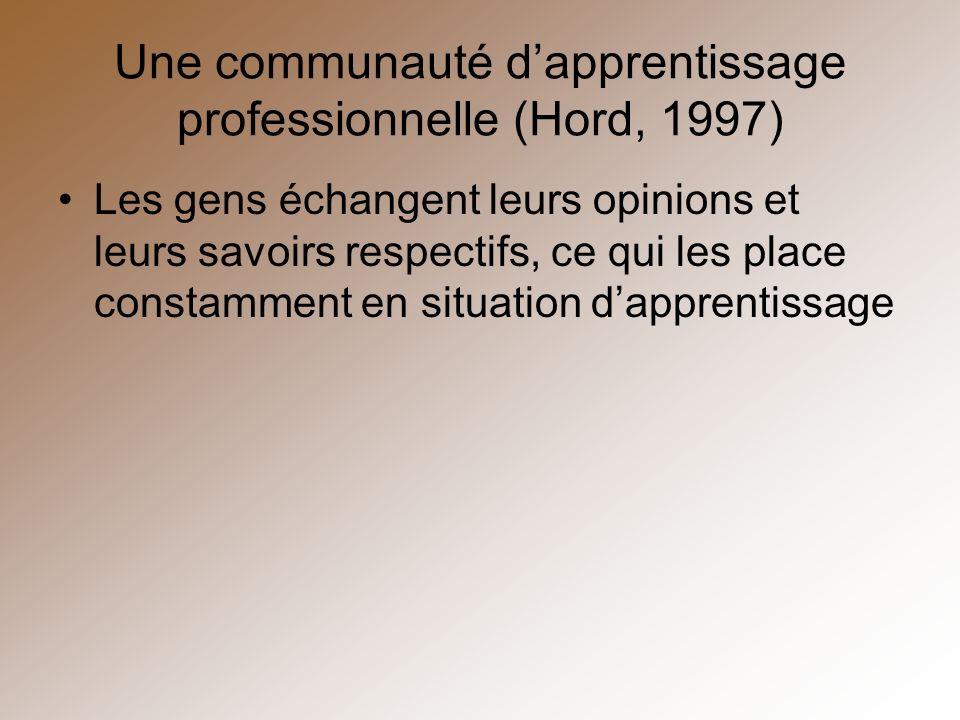 Une communauté d'apprentissage professionnelle (Hord, 1997)